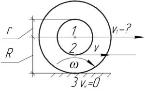 """Схема к решению задачи """"С какой скоростью будет перемещаться ось катушки, если конец нити тянуть"""""""