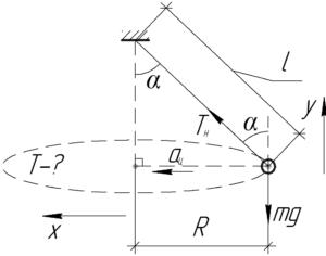 """Схема к решению задачи """"Груз, подвешенный на нити длиной 5 м, равномерно движется по окружности"""""""