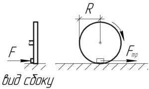 """Схема к решению задачи """"Какой тормозящий момент относительно оси вращающегося колеса диаметра 40 см"""""""